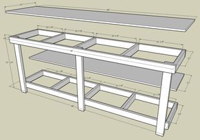 Garage Work Bench With Measurements By Http Www Wirelesscouch Net Cluening Projects Garageworkbench Garage Work Bench Garage Workbench Plans Workbench Plans