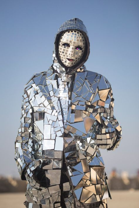 Man in the Mirror, a performance artist from Las Vegas, at Burning Man 2013 (Photo by Scott London)