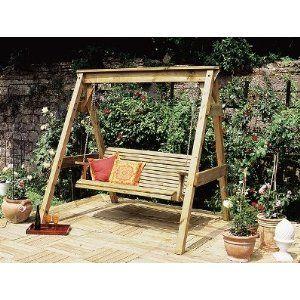 Garden Swing Bench 3 Seater Wooden Garden Swing Seat With Frame