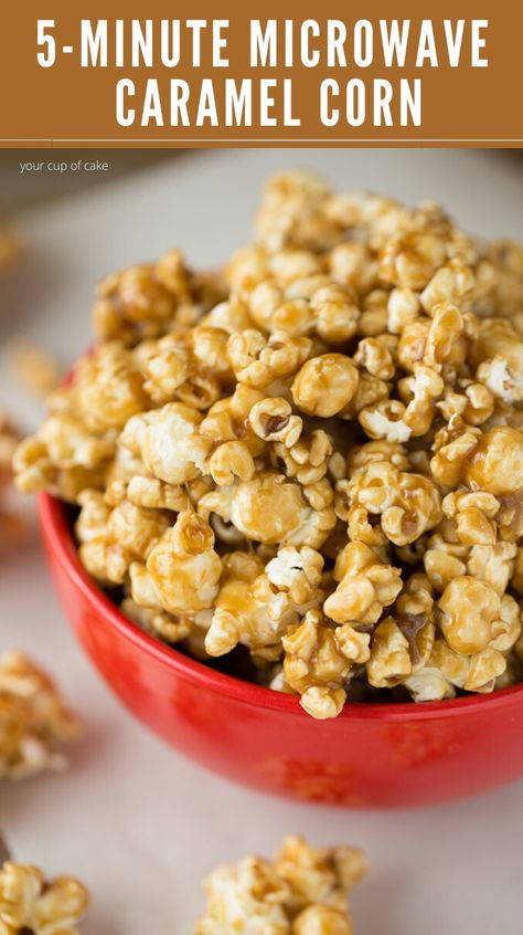 Soft Caramel Corn is maybe the best part of the holiday season. And this Easy Microwave Caramel Corn recipe only takes 5 minutes and is so good you won't stop making it! Trust me, I made it 3 times in Microwave Caramel Corn, Microwave Caramels, Caramel Corn Recipes, Microwave Kettle Corn Recipe, Easy Microwave Recipes, Kettle Corn Recipes, Microwave Caramel Popcorn Recipe, Bacon Popcorn, Corn In The Microwave