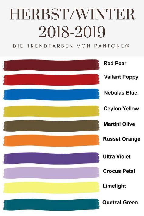 Die Trendfarben der Herbst-Winter-Saison 2018-2019 laut Pantone ®
