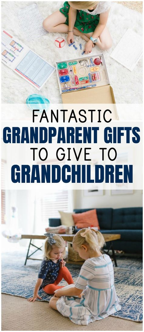 15 Fantastic Grandparent Gifts to Give to Grandchildren - Everyday Reading When your parents ask for ideas about what they can give their grandchildren for a birthday or holiday, this list has a ton of great suggestions! Personalized Gifts For Grandparents, Grandparents Day Crafts, Grandparent Gifts, Small Gifts, Gifts For Kids, Experience Gifts, Grandma Gifts, Grandchildren, Diy Gifts
