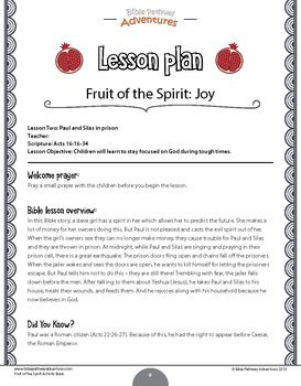 Joy Fruit Of The Spirit Activity Book Lesson Plan With Images