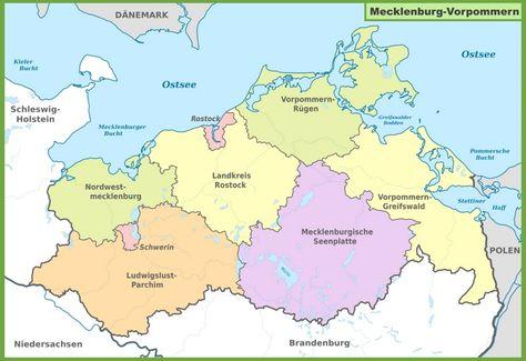 Administrative Divisions Map Of Mecklenburg Vorpommern