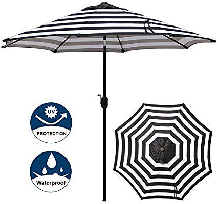 668e2f058 Amazon.com : Blissun 9' Outdoor Aluminum Patio Umbrella, Market Striped  Umbrella with Push Button Tilt and Crank (Black & White Stripe) : Garden &  Outdoor