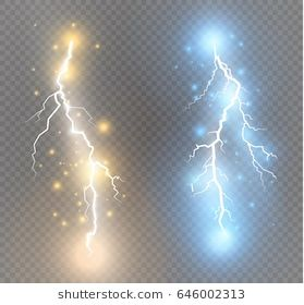 Vector Electric Lightning Bolt Energy Effect Bright Light Flare And Sparks On Transparent Background Lightning Bolt Art Lightning Lightning Bolt