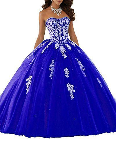 99311af6f6 Meledy Women s V-Neck 3 4 Sleeves Sweet 16 Backless Appliques Sequins Ball  Gown Long Quinceanera Dress Royal Blue US06  quinceaneradresses