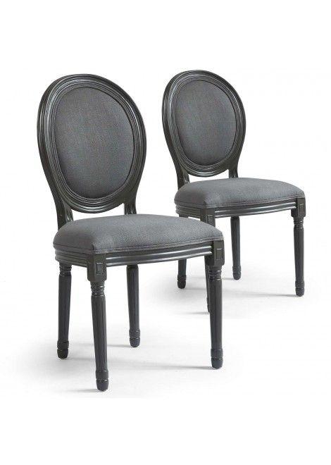 Lot De 2 Chaises Grises De Style Medaillon Leonard En Tissu Chaise Grise Chaise Chaise Design
