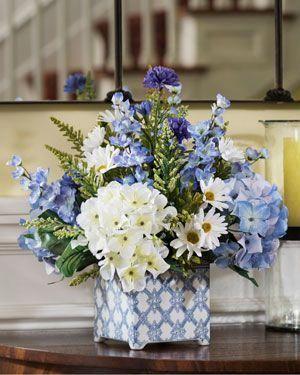 Hydrangeas In Blue Br Silk Flower Arrangement Flowersarrangements Silk Flower Centerpieces Flower Arrangements Flower Centerpieces