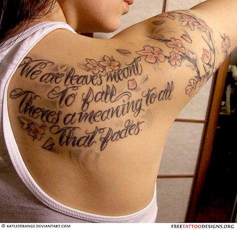 tatouage dos citation. | modèles de tatouage femme sur le dos