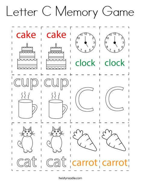 Letter C Memory Game Coloring Page Twisty Noodle In 2021 Memory Games Lettering Letter C Coloring Pages