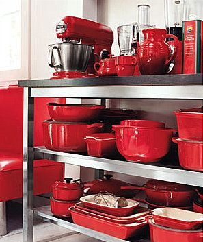 Yum, yum, yum - red cookware, all together... nice and shiny and oh so pretty