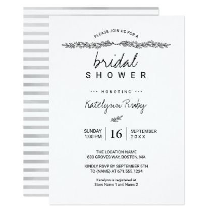 Simple Elegant Bridal Shower Invitation