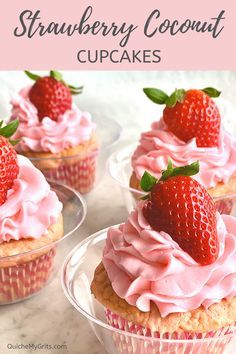 Strawberry Coconut Cupcakes are filled with real strawberries and frosted with pink buttercream icing! YUM! #cupcakes #strawberry #coconut #dessert #baking #sweet | QuicheMyGrits.com  Strawberry Coconut Cupcakes are filled with real strawberries and frosted with pink buttercream icing! YUM! #cupcakes #strawberry #coconut #dessert