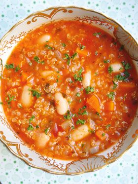Hearty quinoa and white bean soup from 'Food' by Mary McCartney