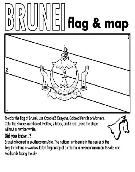 Brunei Coloring Page Brunei Flag Coloring Pages Precious