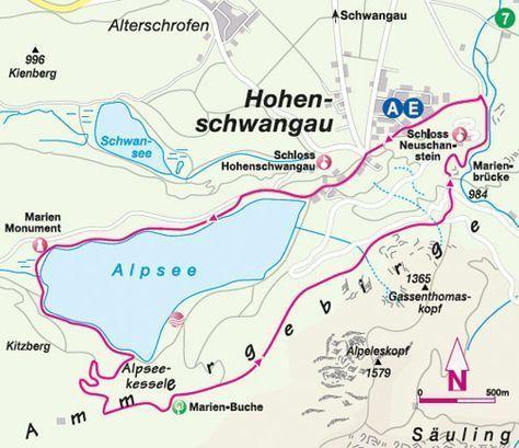 Alpsee Wandern Wanderkarte Wandern Allgau Urlaub Urlaub
