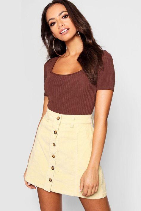 Womens Mock Horn Button Through Cord Skirt - yellow - 2