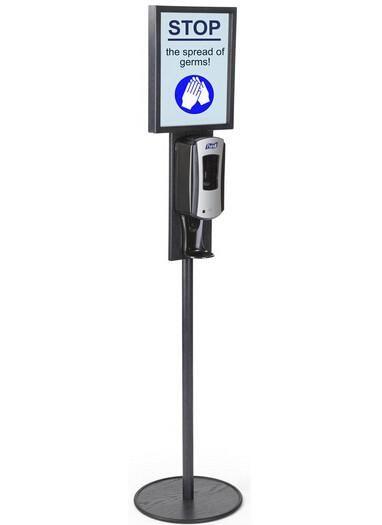 Hand Sanitizer Dispenser Holds 11 X 14 Sign Floor Standing