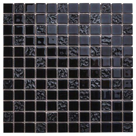 Mosaique Verre Flourencia Noir Salle De Bains Bois Et Noir Meuble Vasque Bois Carrelage Mural
