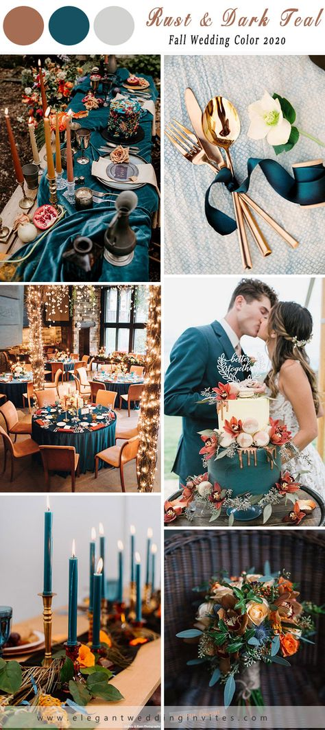 Rust wedding color palette is trending for 2020 weddings. We just love this rich color which is so fancy but also so retro. With the use of rust and orange, the endless possibilities in floral and food will help bring. October Wedding Colors, Fall Wedding Colors, Wedding Color Schemes, Wedding Themes For Fall, Wedding Ideas For October, Wedding Colour Palettes, Teal Wedding Decorations, Rust Color Schemes, October Wedding Dresses
