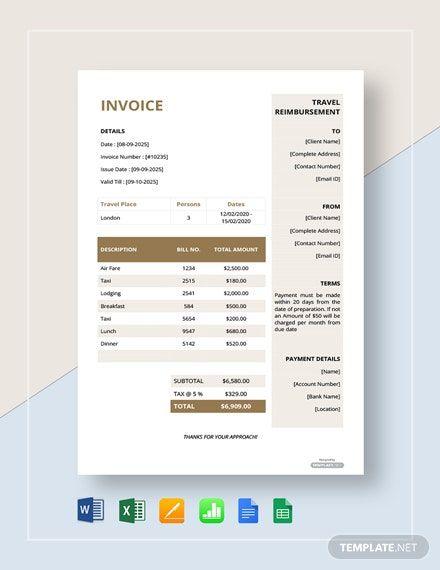 Travel Reimbursement Invoice Template Free Pdf Word Excel Apple Pages Google Docs Google Sheets Apple Numbers Invoice Template Word Template Website Template Design