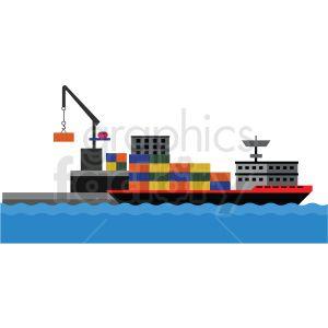 Cargo Ship Port Vector Clipart Clip Art Cargo Shipping Vector Clipart