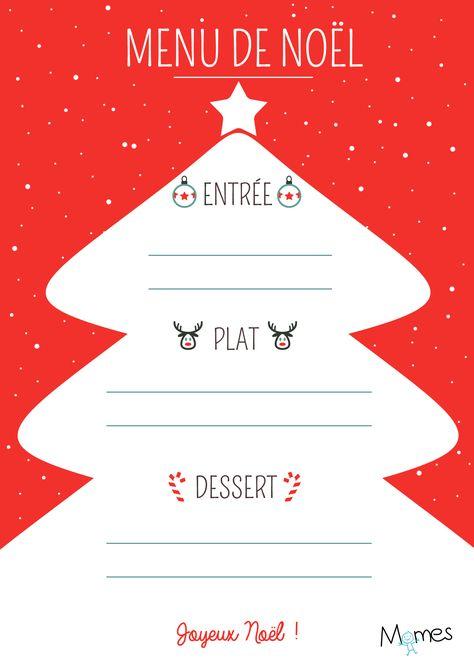 Menu De Noël à Imprimer Sapin Rouge Et Blanc Menu A