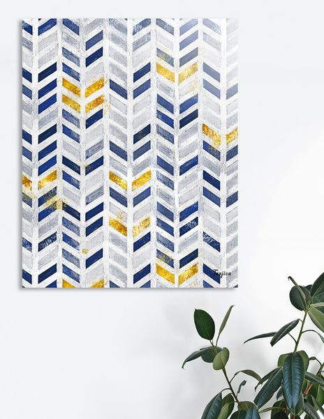 Modern Blue Gold Acrylic Canvas Herringbone Chevron Pattern Acrylic Glass Print By Tanjica Perovic Numbered Edition From 85 Acrylic Canvas Blue Gold Chevron