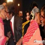 Amitabh Bachchan & Jaya kiss for the first time in public