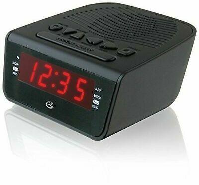 Jensen FM Black Dual Alarm Projection Clock Radio Nap Timer US Seller