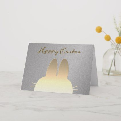 Elegant Silver And Gold Simple Modern Easter Bunny Card Happy