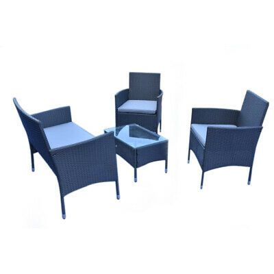 Rattan Wicker Outdoor Garden Patio Furniture 4 Piece Table Desk Chairs Sofa Set Ebay Bahce