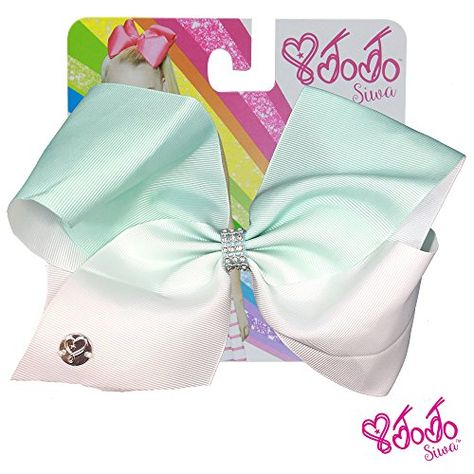 JoJo Siwa Signature Collection Hair Bow - Mint Green / White Fade With Sticker Patch Set Included:   Girls just wanna have big bows fun ! Inspired by the dancing star JoJo Siwa's iconic Big Bow style, the JoJo Siwa Hair Bow/b will make a vivid, bright and fun addition to any girl's accessories collection. The bow is attached to a metal salon clip that makes it easy to wear and keeps it in place throughout the day. The ribbon is made of soft-to-the-touch, yet durable -- because girls ar...