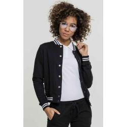 Urban Classics Damen Jacke Ladies College Sweat Jackettb2618 blk/wht Inset College Sweat Xs Urban Cl
