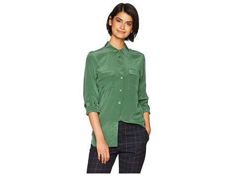 EQUIPMENT Slim Signature Blouse (Rich Ivy) Women's Blouse. Feel your best in this EQUIPMENT staple. Luxuriously soft silk crepe constructs this versatile blouse. Slim silhouette is perfect for work or play. Fold collar and long sleeves with button cuffs. Full button-front closure. Dual flap pockets at chest. Curved shirttail hemline. 100% silk. Dry clean only. Imported. Measurements: Length: 30 in Product measurements were tak #EQUIPMENT #Apparel #Top #Blouse #Green