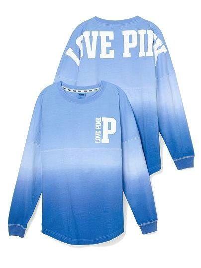 NEW Victoria Secret Pink Varsity Crew Sweatshirt Tunic Ombre Blue ...