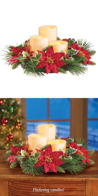Candle Holders And Accessories 16102 Led Candles And Poinsettia Wreath Centerpiece For Winter Christmas Centerpieces Christmas Celebrations Poinsettia Wreath