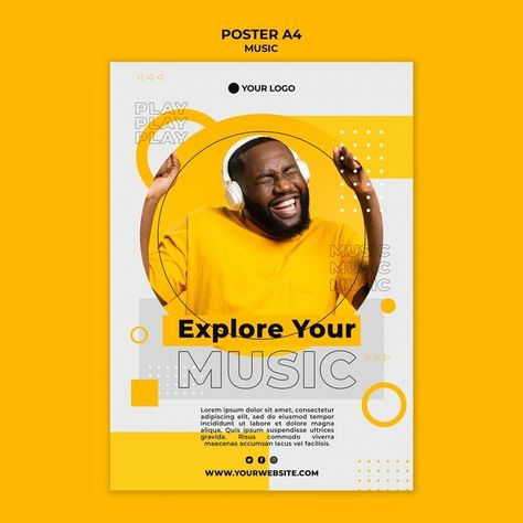 Download Happy Man Listening To Music Poster Template for free