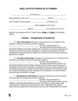 Free Real Estate Power Of Attorney Word Pdf Eforms Free