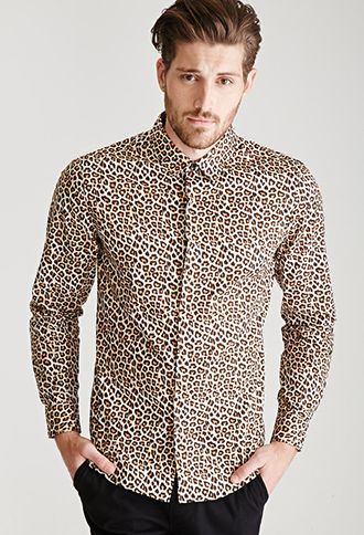 fc02b14e958a7 Collared Leopard Print Shirt | 21 MEN - 2000099946