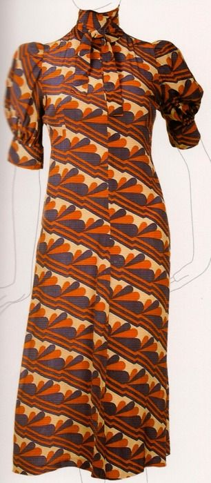 Late 1960s dress by Biba. This reminds me of my mom for some reason..the fit and style I could have seen her in, but, she would have worn it in the 70s