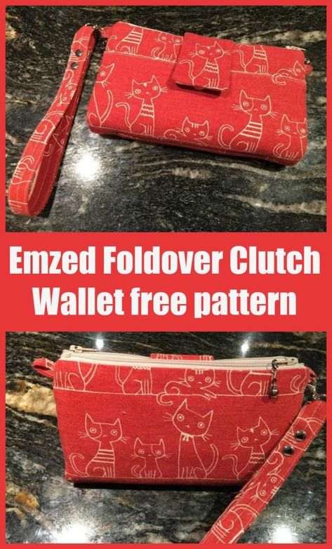 Emzed Foldover Clutch Wallet free sewing pattern. This clutch bag/wristlet/wallet sewing pattern has everything you need. Space for your cash and cards, a place for your phone, plenty of pockets, and a wrist strap. Check out the video to see all the features of this one of a kind bag. You need this free clutch bag sewing pattern in your collection. #SewModernBags #SewABag #BagSewingPattern #FreeSewingPattern #SewingForFree #FreeWalletPattern #FreeClutchPattern Bag Patterns To Sew, Sewing Patterns Free, Free Sewing, Free Pattern, Baby Sewing, Coin Purse Tutorial, Zipper Pouch Tutorial, Tote Tutorial, Tutorial Sewing