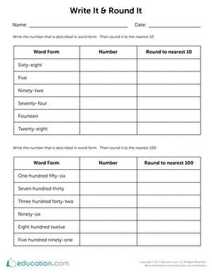 Title Write It Round It Worksheet Education Com Third Grade Math Worksheets 3rd Grade Writing Third Grade Math
