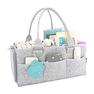 Gray Baby Diaper Caddy Organizer Large Storage Portable Nursery Holder Bag Baby Gifts