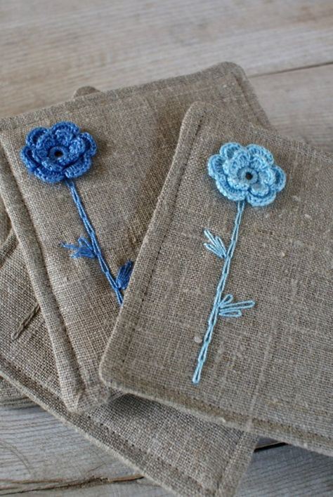 Set of 2 coasters from linen/sewing crocheting and by sandrastju