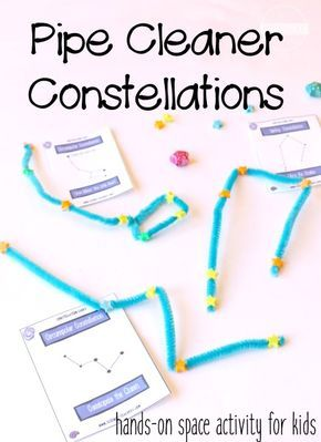 Pipe Cleaner Constellations STEM Activity for Kids - this is such a fun clever idea for learning about stars, solar system, science project for kids, or prep for upcoming solar eclipse! space activities for kids solar system Solar System Activities, Space Activities For Kids, Space Preschool, Solar System Crafts, Science Projects For Kids, Solar System Projects For Kids, Space Projects, Outer Space Crafts For Kids, Solar System Kids