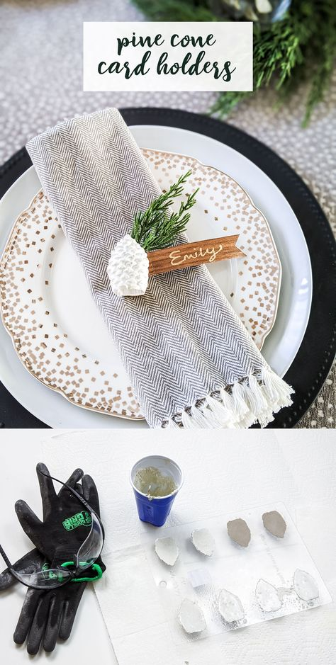Easy DIY for Christmas and holiday table settings! Made from white concrete used for stepping stones and wood veneer. Get the how to on the blog. #concrete #cement #diychristmas #christmas #holiday #tablesetting #weddingtable #placecardholder #namecardholder #tablemarkers #pinecone