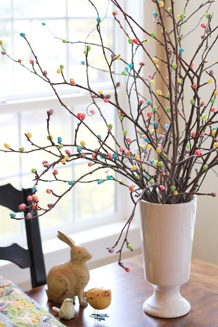 "Hot glue jelly beans to tree branches for an adorable ""Easter Tree"""