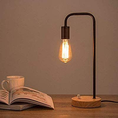 Amazon Com Haitral Industrial Table Lamp Vintage Edison Bulb Lamp With Wooden Base Bedside Lamp For Edison Bulb Lamp Vintage Table Lamp Industrial Table Lamp